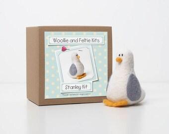 Seagull Needle Felting Kit-Bird Kit-Felting gift-Needle Felting Kit-Woollie and Feltie Kit, Stanley Kit