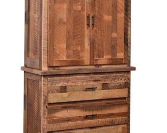 Reclaimed Barn Wood 3 Drawer 2 Door Armoire