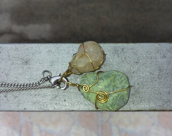 Serpentine and Milky Lemon Quartz wire wrapped pendants necklace- Mermaids tears- Rough Gemstones from Nature