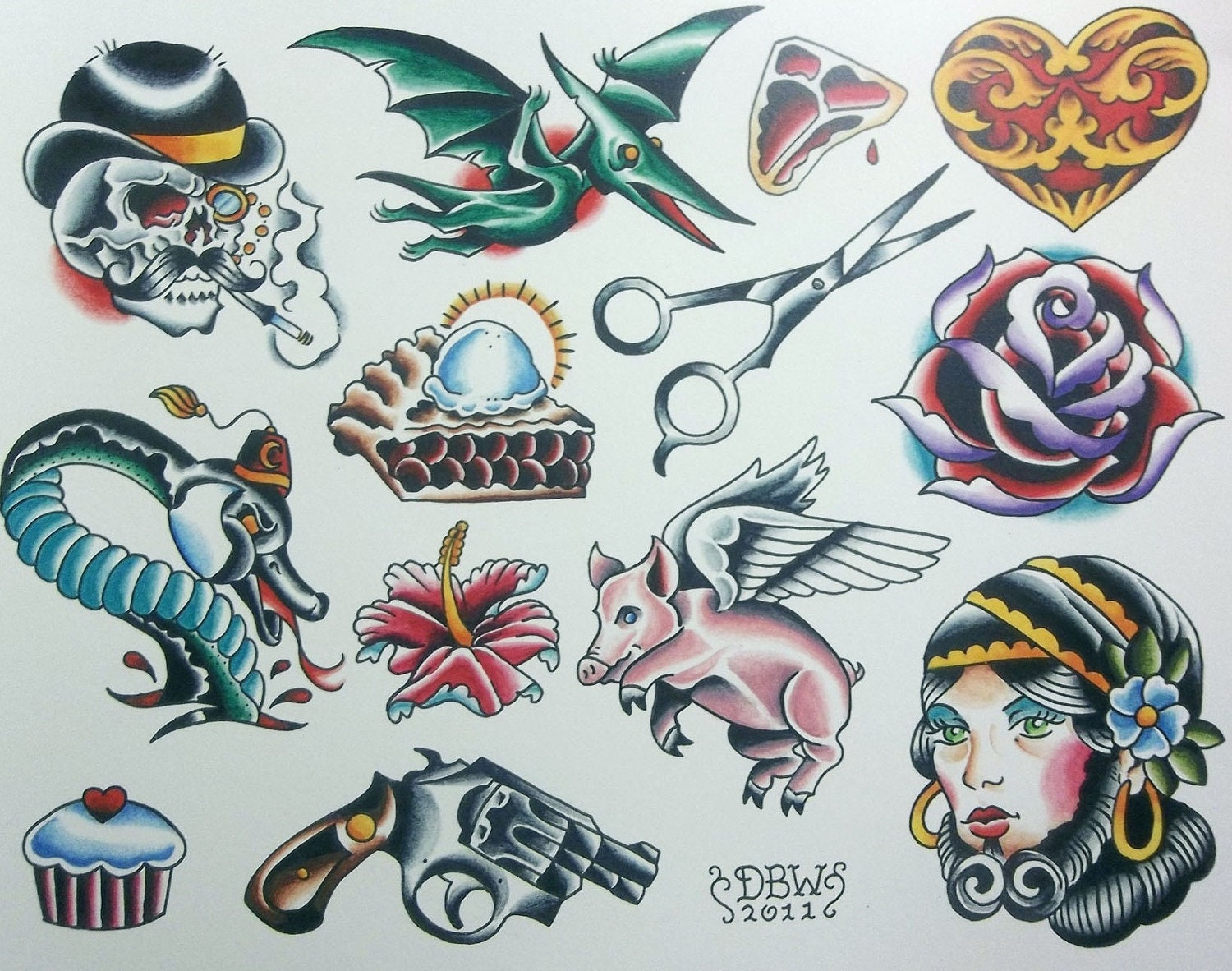 miscellaneous iii neo traditional tattoo flash sheet. Black Bedroom Furniture Sets. Home Design Ideas