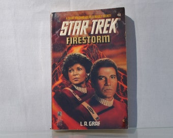 Vintage Paperback Book Star Trek The Original Series Firestorm Pocket Books 1994 - Federation - Captain Kirk - Enterprise - Elasian Dohlman