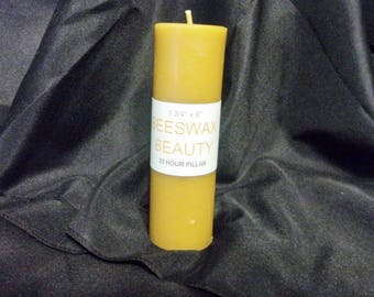100% Pure Beeswax 7 Inch Pillar Candle