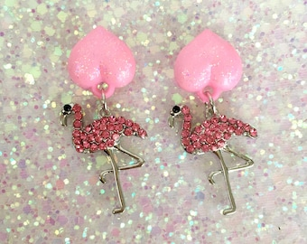 Flamingos Love Kisses Earrings - Pink Sparkle - Pinup - Retro - Rockabilly - 1950s