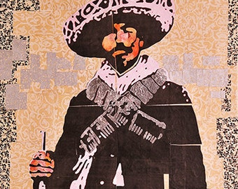 Title: Dapper Soldado. Collage on canvas of a soldier from the Mexican Revolution with silver leaf.