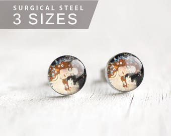 Klimt post earrings, Surgical steel stud, Tiny earring studs, Mother and Child stud earrings
