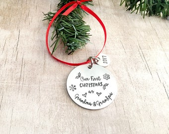Our First Christmas as Grandma and Grandpa Ornament - Personalized Grandparent Ornament - New Grandparent Ornament Gift