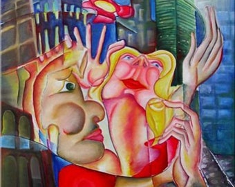 "Contemporary Cubism Art Oil Painting, Picasso Style ""LOVE in NY"" Hand Painted by DOBOS"