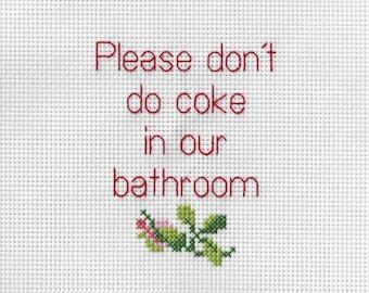 Coke in the Bathroom - Cross stitch