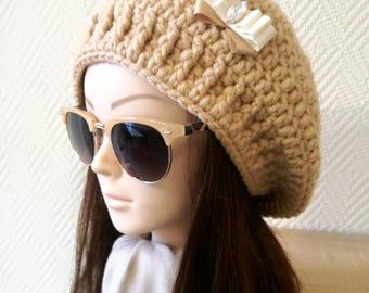 Crochet beret, Slouchy Beanie, Womens Hat, Chunky Wool Beanie, Girlfriend Gift, Womens beret