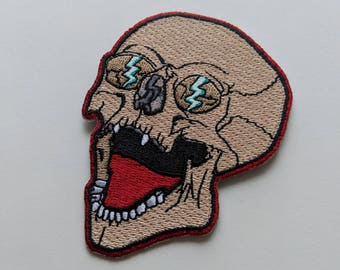 Skull Patch - Iron On, Embroidered