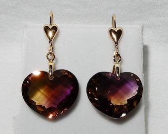 Bi-Color Ametrine Heart 24cts gemstones, yellow gold Heart Leverback Earrings