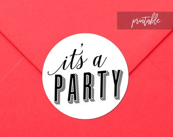 Printable Party Invitation Stickers, Birthday Party Printable Stickers, Birthday Party Invitation Envelope Stickers, Birthday Invitation