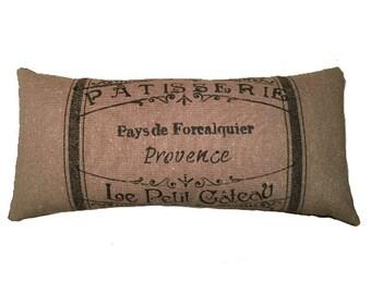 """Medium Grain Sack Provence Lumbar Pillow, 18"""" x 8"""""""