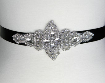 Bridal Belt, Wedding Belt, Black Bridal Sash, Flower Girl Dress Sash, Bridesmaid Belt, Rhinestone Bridal Belt, Crystal Wedding Belts, LILY