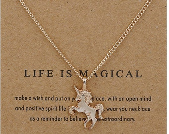 Magical unicorn wish necklace