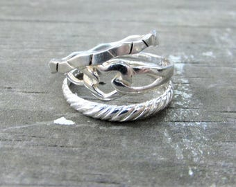 Vintage Sterling Stack-able Ring Set - Sterling 3 Ring Stack Set - Bohemain Style Sterling Rings - Sterling Midi Rings