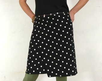 """Black Skirt, Snap Around Skirt, """"Classic Polka Dots"""" Plus Size, One Size, Flattering to the behind..."""