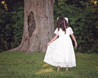 Rustic Flower Girl Dress, First Communion Dress, Boho Flower Girl Girls Lace Dress, Girls Maxi Dress, Vintage White Lace Dress, Delilah