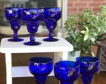 Vintage, Cobalt Blue Vintage Glass Stemware, Set of 6 Glasses