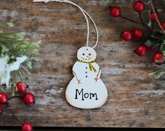Mom Ornament, Personalized Christmas Ornament, Snowman Ornament, Custom Family Ornament, Custom Name Ornament, Mini Snowman Ornament