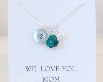 We Love You Mom,Birthstone Necklace,Initial Necklace,Emerald Necklace,Green Necklace,Monogram Necklace,Pearl Necklace,Emerald Jewelry,Emeral