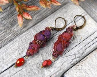 Ruby red boho chic  sari silk dangle earrings
