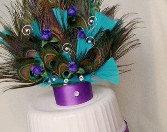 Peacock Wedding Cake Top PurpleTurquoise AmoreBride original feather topper Bridal Party Event Peacock reception Decorations accessories