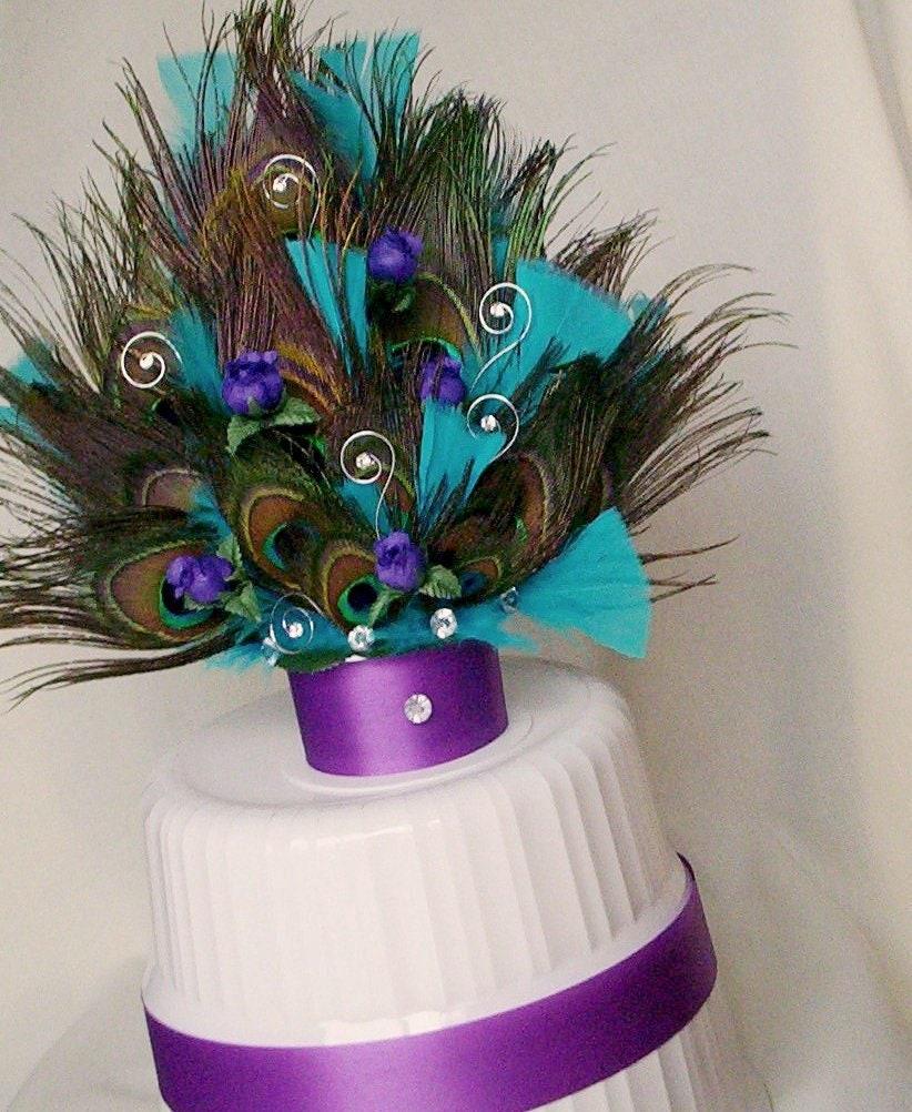 Peacock Feather Wedding Cake: Peacock Wedding Cake Top PurpleTurquoise AmoreBride Original
