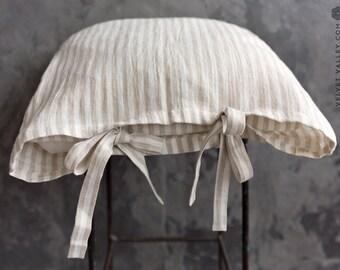 Linen pinstriped  PILLOW sham- softened linen pillow with ties- standard, queen, king sizes-  housewife linen pillow