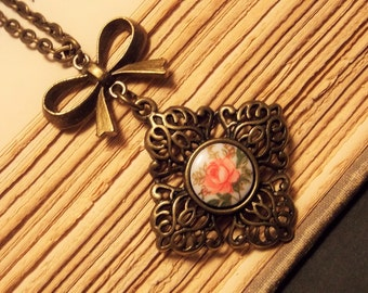 Bronze and Pink Victorian Rose Necklace