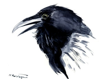Crow painting,raven, original watercolor, wall art, black white minimalist art, raven portrait, raven head, tribal art, american Indian art