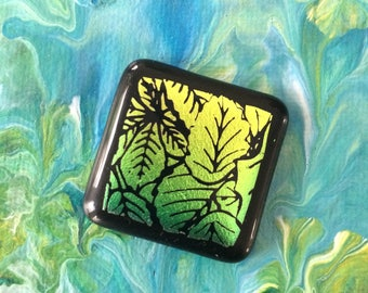 Leafy Etched Dichroic Fused Glass Cabochon with FREE Shipping in the USA