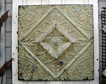 Architectural salvage Wall Decor, Tin metal ceiling tile, Rustic wall decor, Chippy old paint, Farmhouse decor, Old pressed tin tile