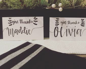 Give Thanks Custom Made Handwritten Caligraphy Name Card