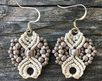 SALE Micro-Macrame Earrings - Antique Silver