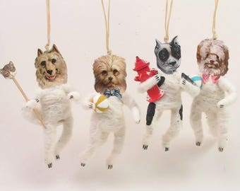 READY TO SHIP Vintage Inspired Spun Cotton Single Hanging Dog Ornament