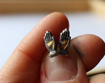 Silver Heart Hand Earrings with 24k Gold Foil - stud earrings - gift for her -