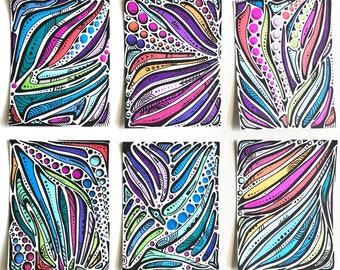 Original Small Abstract Art Works - Set of 6