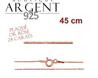 Fine silver chain 925 silver plated rose gold 45 cm standard women size