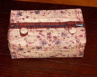 Fitted Tissue Box Cover fits Kleenex brand boxes. Lavender fabric with shades of blue and purple