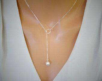 Pearl Lariat Necklace, simple Pearl Necklace, Y Necklace, Wedding, Bridal necklace, Bridesmaid Eternity Necklace