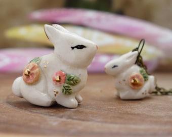 Ceramic spring flower bunny ,  rabbit totem, animal totem, ceramic bunny, boho art, spirit animal, clay spirit rabbit