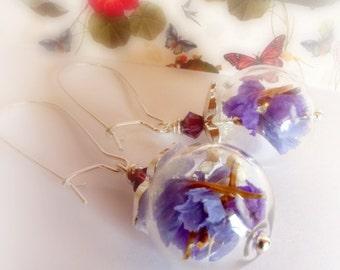 Purple terrarium earrings  Real flower earrings Mini botanical dainty earrings Dry flower earrings Nature earrings gift Gift for her  й02