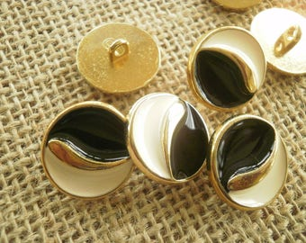 Pretty round metal buttons, gold, black and ecru color on top, 18 mm diameter