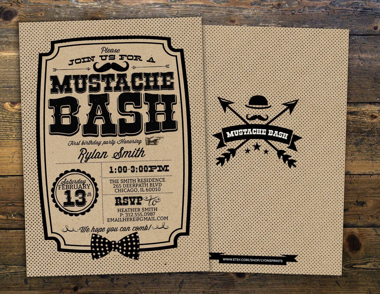 Mustache Bash birthday Invitation - Mustache Birthday Invite ...