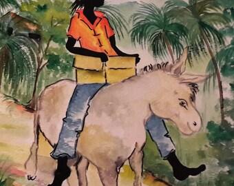 Black Ethnic greeting card- (message inside blank ) Rasta Man & Donkey