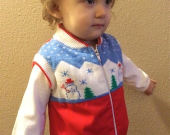 Vintage Toddler Girl's 80's Jacket, Sleeveless, Red, White, Snowman, Zip Up (2T)