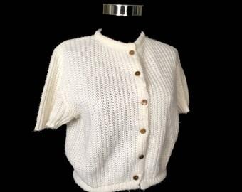Vintage Women's Sweater, 1960's,White Short Sleeve Cardigan, Orlon, Acrylic, Goldtone Buttons, Medium