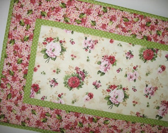 Spring Table Runner, Floral, Summer,  quilted table runner, fabric Maywood and Robert Kaufman, handmade