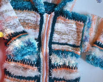 KNIT turquoise recycled coat 6 years